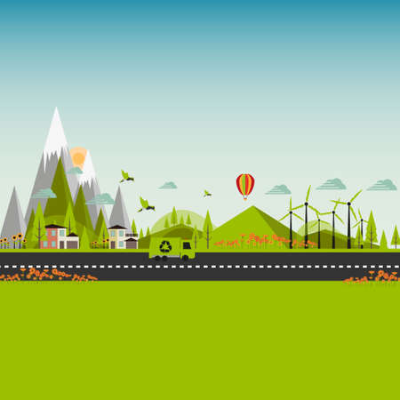 lijntekening: Flat Eco Green City Illustratie EPS 10 Stock Illustratie