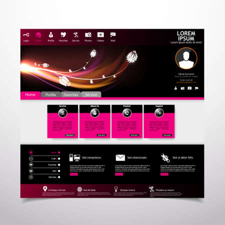 web site design template: Vector web site design template with lighting abstract flowers Illustration