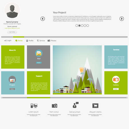 website header: Eco Flat Metro Web Design Template.