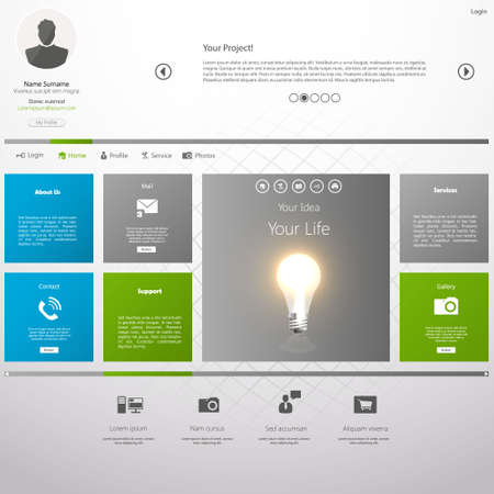 web site design template: Flat Metro Web Design Template. Illustration