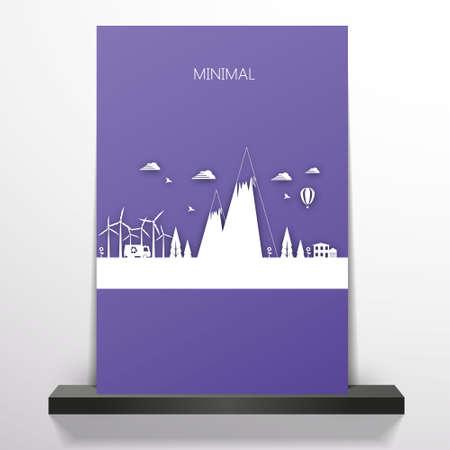 Flyer or cover design with Flat minimal landscape illustration. Vector