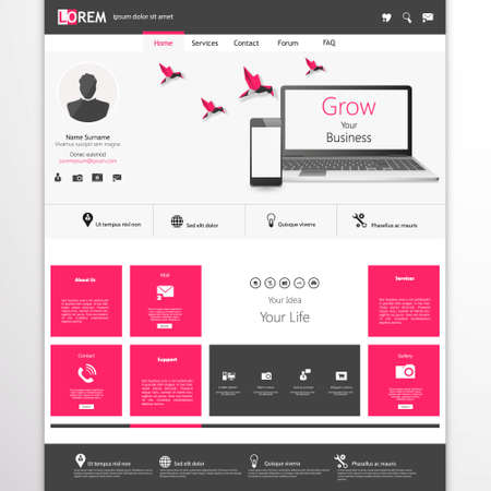for website: business website template - home page design - clean and simple - with a space for a text