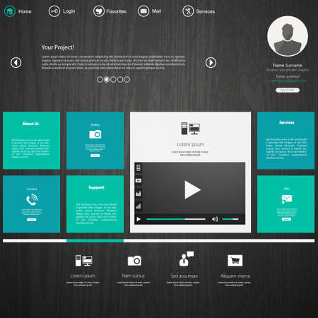 web site design template: Website template in editable vector format