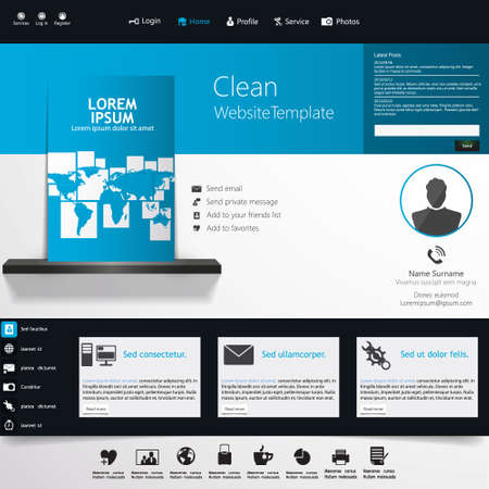 Blue Business Website Template - Home Page Design - Clean And ...