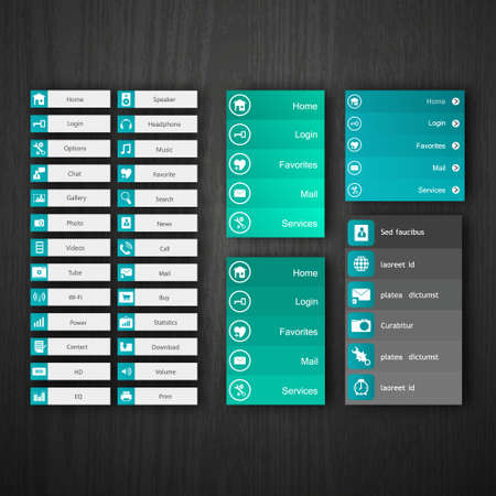 Flat Web Design elements, buttons, icons. Templates for website. Illustration