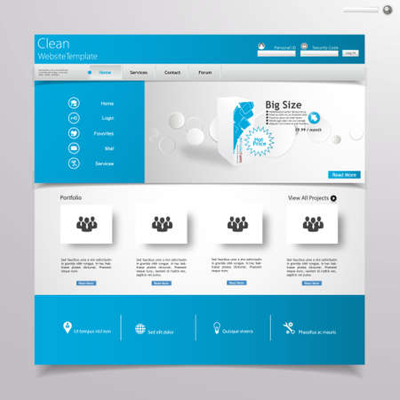 web site design template: Clean blue website design template Illustration