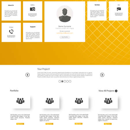 submenu: White and Yellow Website Design Template Illustration