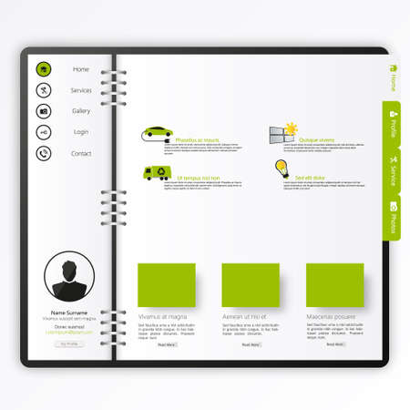 web site design template: Website template Open notepad with bookmarks