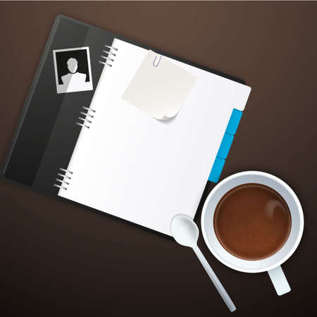 old notebook: Workspace with coffee cup, instant photos, note paper and notebook on old wooden table Illustration