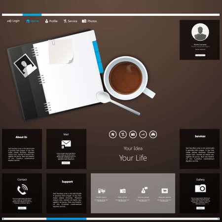web portal: Business website template, vector,
