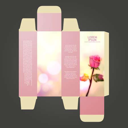box design: perfume box design, with rose.