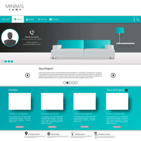 minimalist style: Business website template, Clean Minimalist Style Illustration