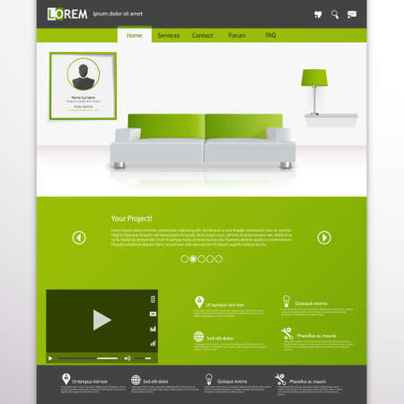 submenu: Business website template, Clean Minimalist Style Illustration
