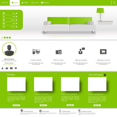 submenu: Business website template, Clean Minimalist Style Illustration
