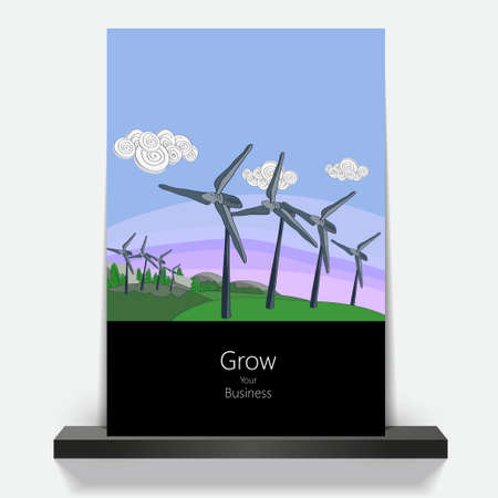 environmentally: Illustration environmentally friendly planet.Green hills and wind turbines, hand drawn