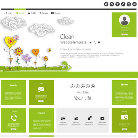 page layout: Green eco beauty website template website