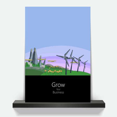 environmentally: Illustration environmentally friendly planet.Green hills and wind turbines, hand drawn