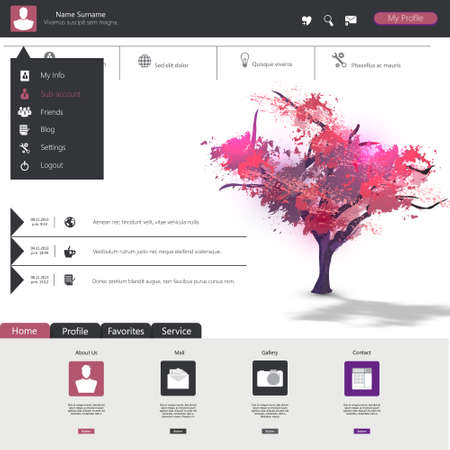 Flat web design elements, buttons, icons. Website template. Illustration