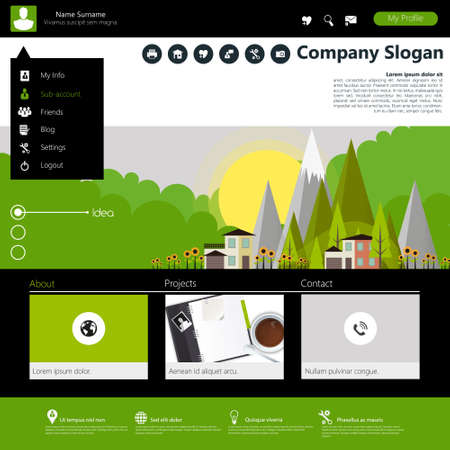 submenu: Flat Website Template Design with eco elements, Vector Eps10