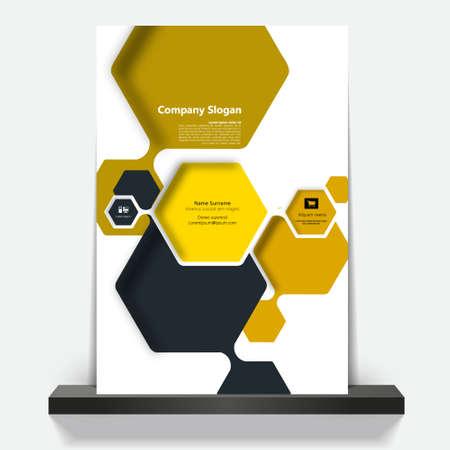 hexagons: Vector brochure, flyer, magazine cover & poster template Illustration