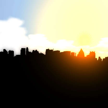 tranquil scene on urban scene: City sunset Vector illustration eps 10