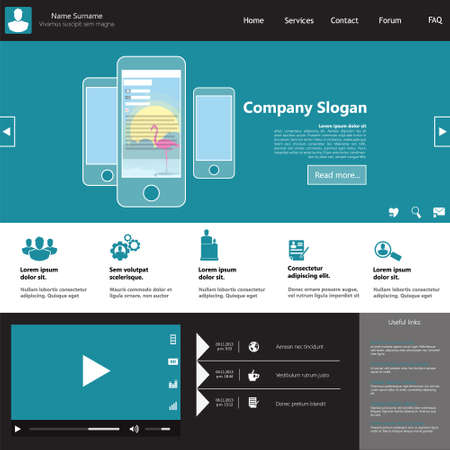 web site design template: Flat Web Design, elements, buttons, icons. Templates for website.