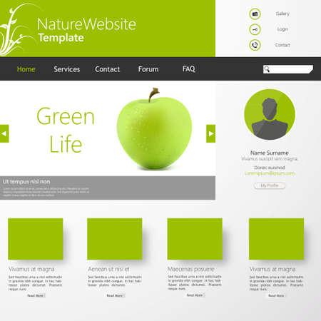 ui design: Vector Grey-green website with apple