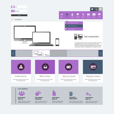 windows 8: Modern flat website template design Illustration