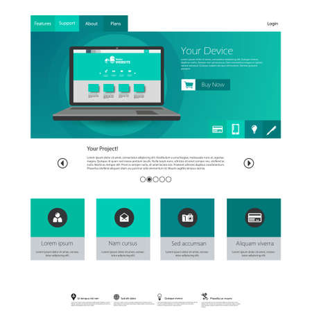 web site design: Modern elegant Flat Minimalist Website Template Design