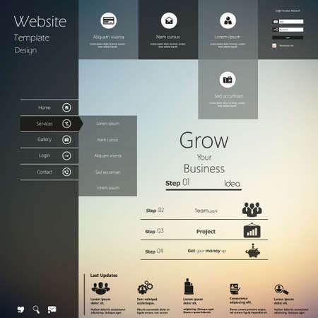 navigation buttons: Design of the menu for a website. Creative web design Illustration