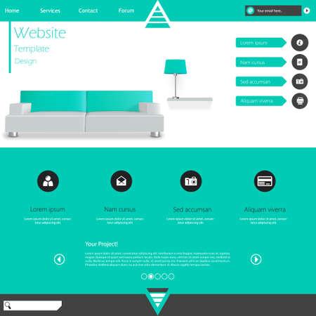 website layout: Modern Flat Minimalistic Website Template Vector Eps10