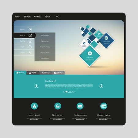 submenu: Clean Modern Website template in editable vector format