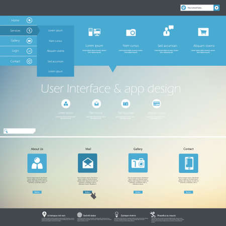 web site design: Web site design menu navigation elements. Illustration