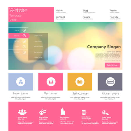 web site: Flat Colorful Website Template Design