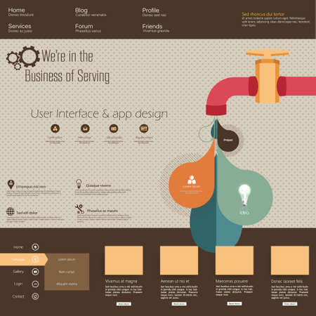 water tap: Retro Watertap Infographics and Fltat website template Illustration