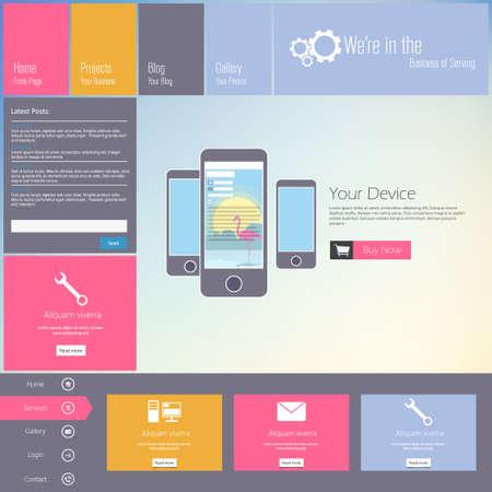website template: Website template - modern flat design