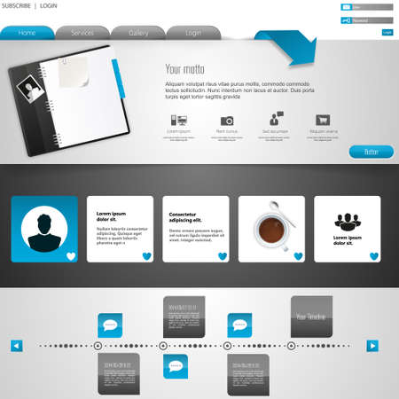 submenu: Professional Wesite Template with social media elements Illustration