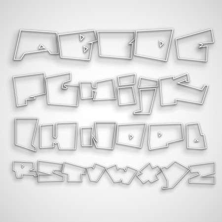 3D Graffiti font alphabet Vector