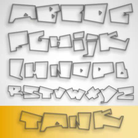 Transparent Graffiti font alphabet Vector
