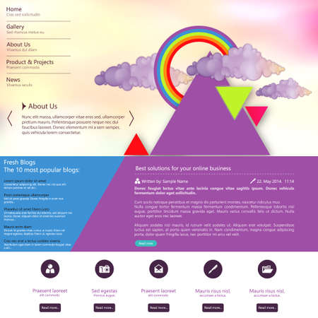 rainbow slide: Web site design template with abstract triangle design
