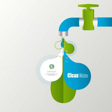agua grifo: Eco de tomas de agua infografía Vectores