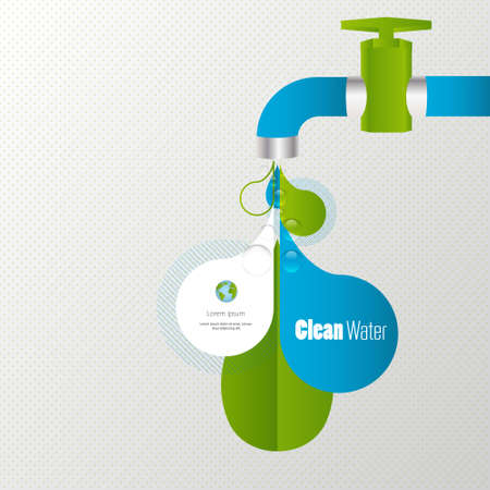 conservacion del agua: Eco de tomas de agua infograf�a Vectores