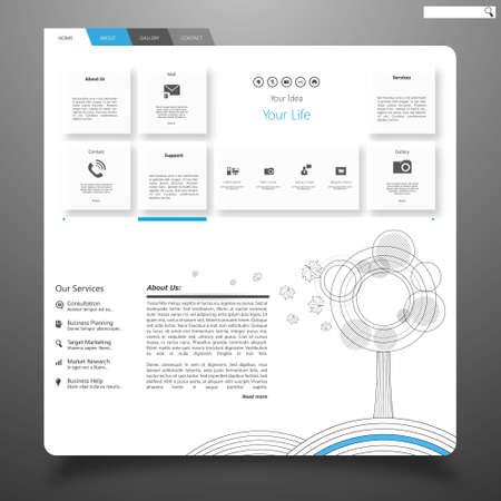 submenu: Clean Website Template Vector Eps 10