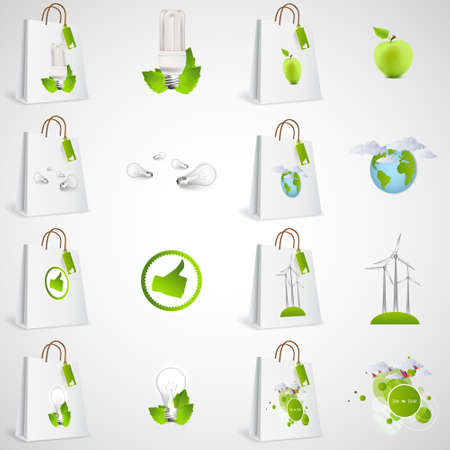 paper bags: Paper bags with green ecological icons design