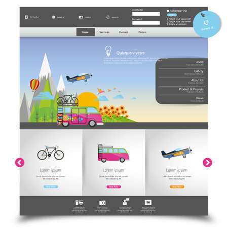 web site design template: Vector website template for Tourism
