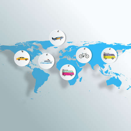 Vehicles of Travel on Earth map. Vector illustration EPS 10 Vector