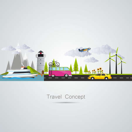 Modern vector illustrationconcept of traveling, planning a summer vacation. Flat desing style. Vector Vector