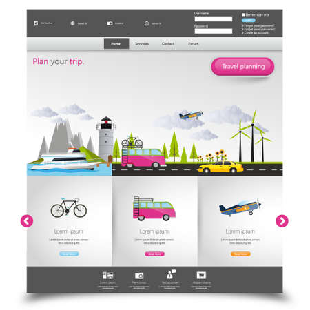 tourism: Tourism Website Template with travelling concept. Vector EPS 10. Illustration