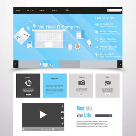 Flat Website Template Vector Eps 10