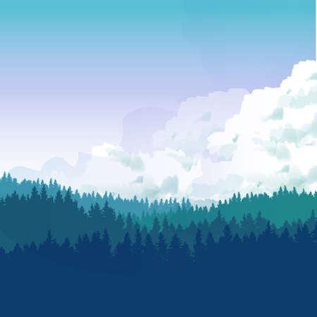 Landscape Illustraion of hills of coniferous wood. Vettoriali